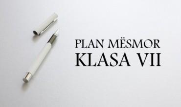 Plan mësimor për klasat e shtata