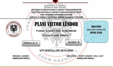 Plan vjetor lëndor në lëndën e gjuhës shqipe 3